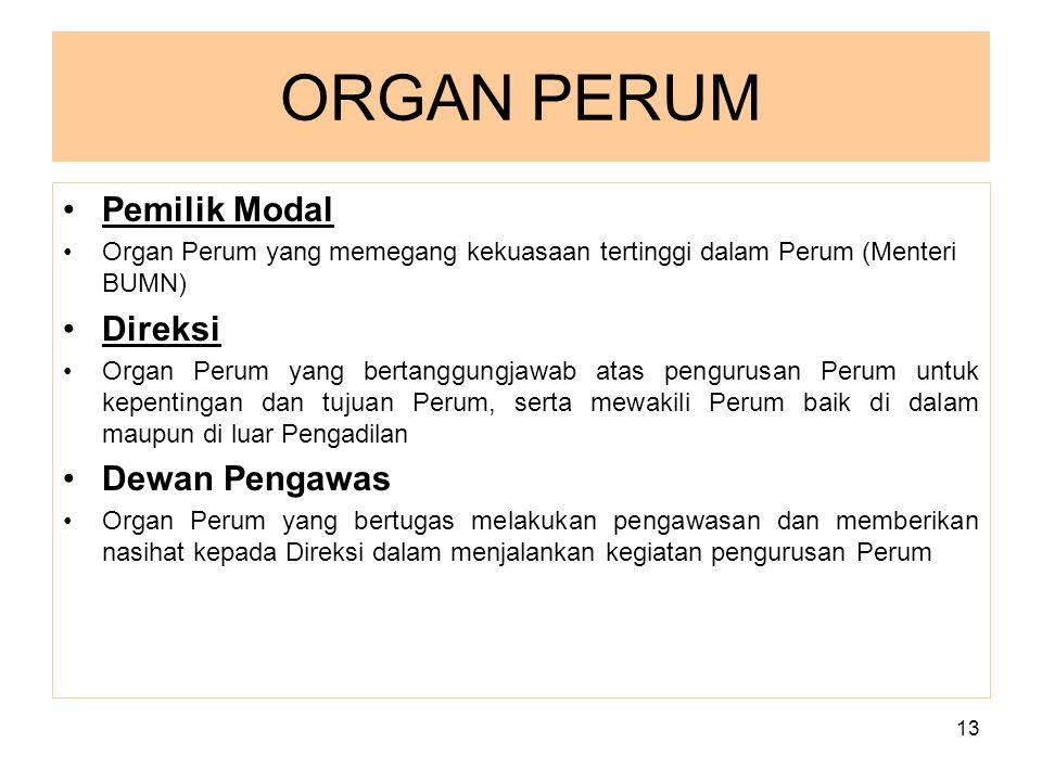 ORGAN PERUM Pemilik Modal Direksi Dewan Pengawas