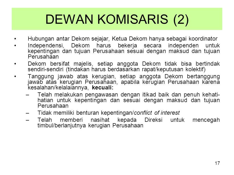 DEWAN KOMISARIS (2) Hubungan antar Dekom sejajar, Ketua Dekom hanya sebagai koordinator.