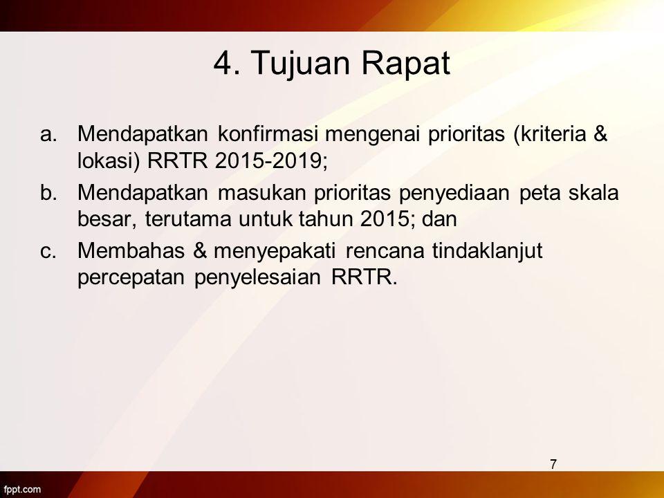 4. Tujuan Rapat Mendapatkan konfirmasi mengenai prioritas (kriteria & lokasi) RRTR 2015-2019;
