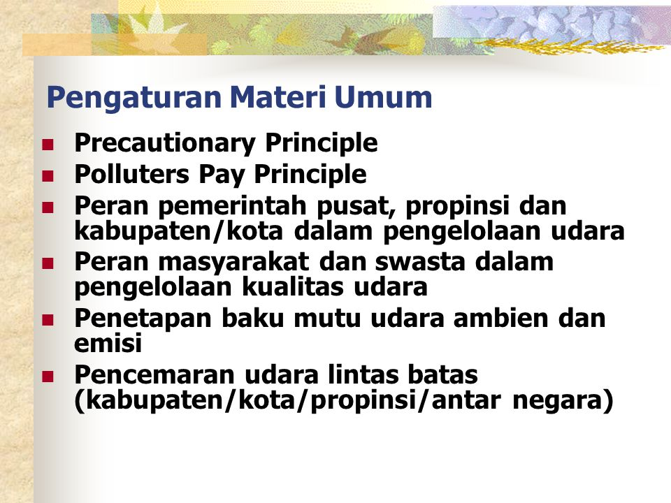 Pengaturan Materi Umum