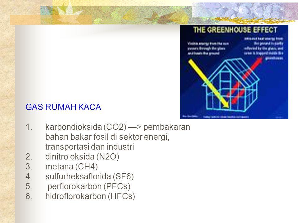 GAS RUMAH KACA karbondioksida (CO2) —> pembakaran bahan bakar fosil di sektor energi, transportasi dan industri.