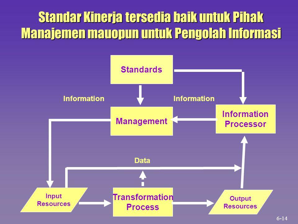 Standar Kinerja tersedia baik untuk Pihak Manajemen mauopun untuk Pengolah Informasi