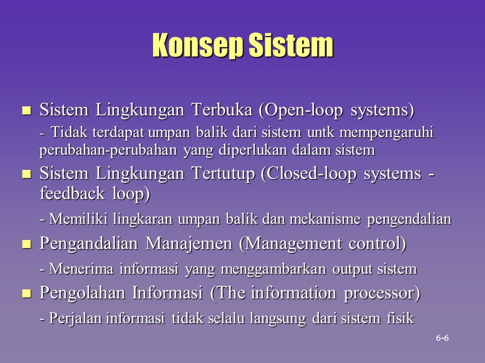 Konsep Sistem Sistem Lingkungan Terbuka (Open-loop systems)