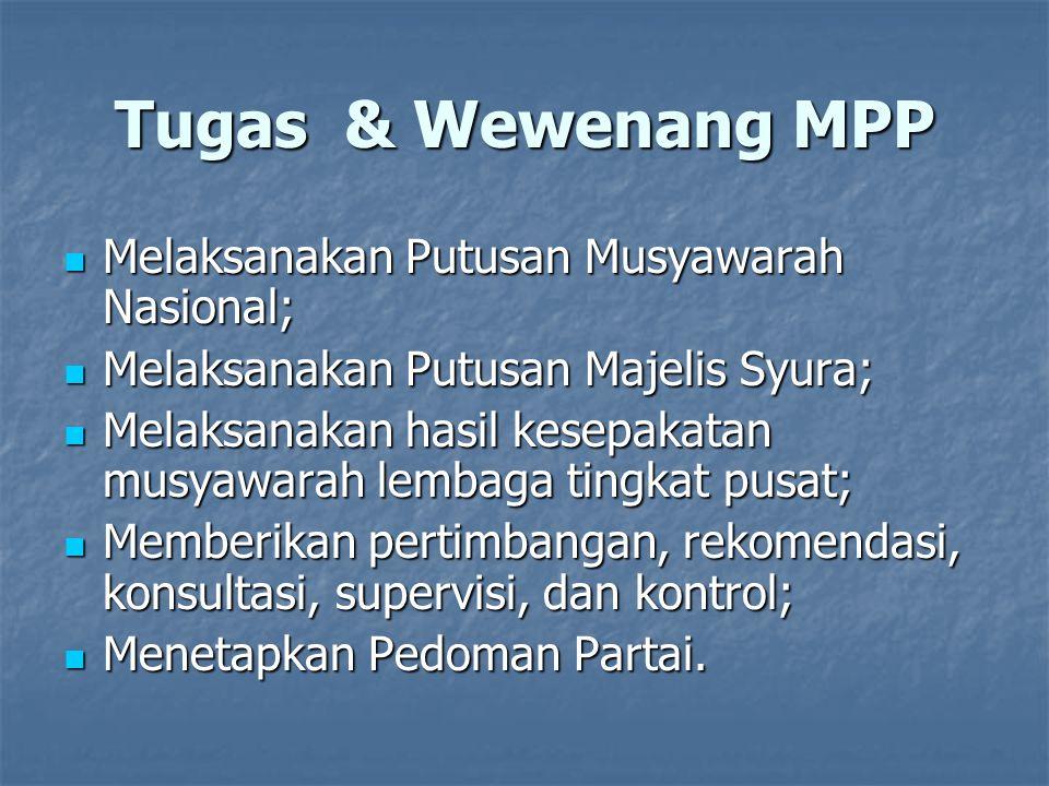 Tugas & Wewenang MPP Melaksanakan Putusan Musyawarah Nasional;