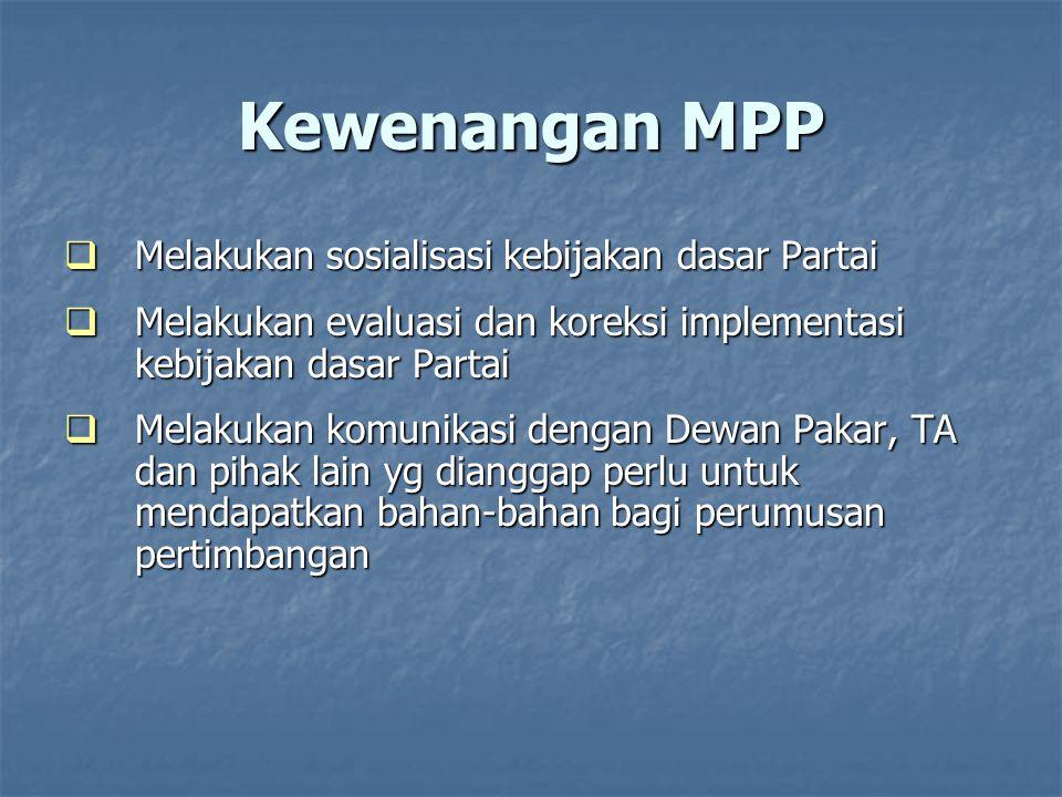 Kewenangan MPP Melakukan sosialisasi kebijakan dasar Partai