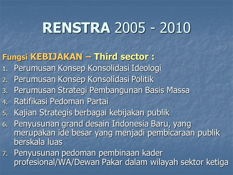 RENSTRA 2005 - 2010 Perumusan Konsep Konsolidasi Ideologi