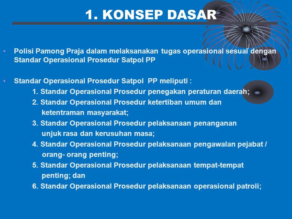 1. KONSEP DASAR Polisi Pamong Praja dalam melaksanakan tugas operasional sesuai dengan Standar Operasional Prosedur Satpol PP.