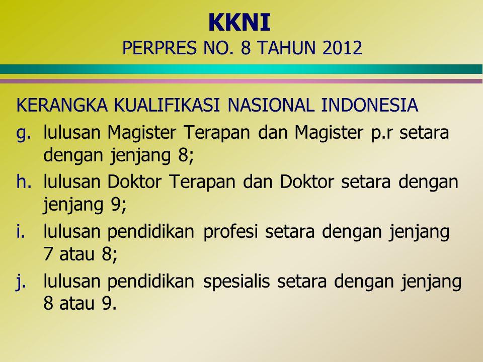 KKNI PERPRES NO. 8 TAHUN 2012 KERANGKA KUALIFIKASI NASIONAL INDONESIA