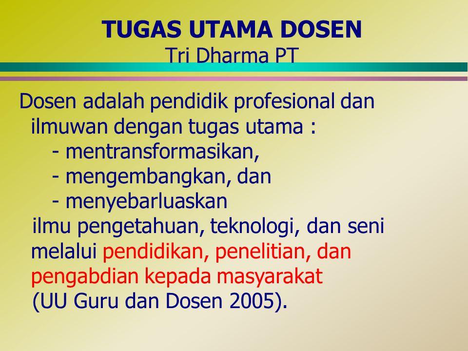 TUGAS UTAMA DOSEN Tri Dharma PT