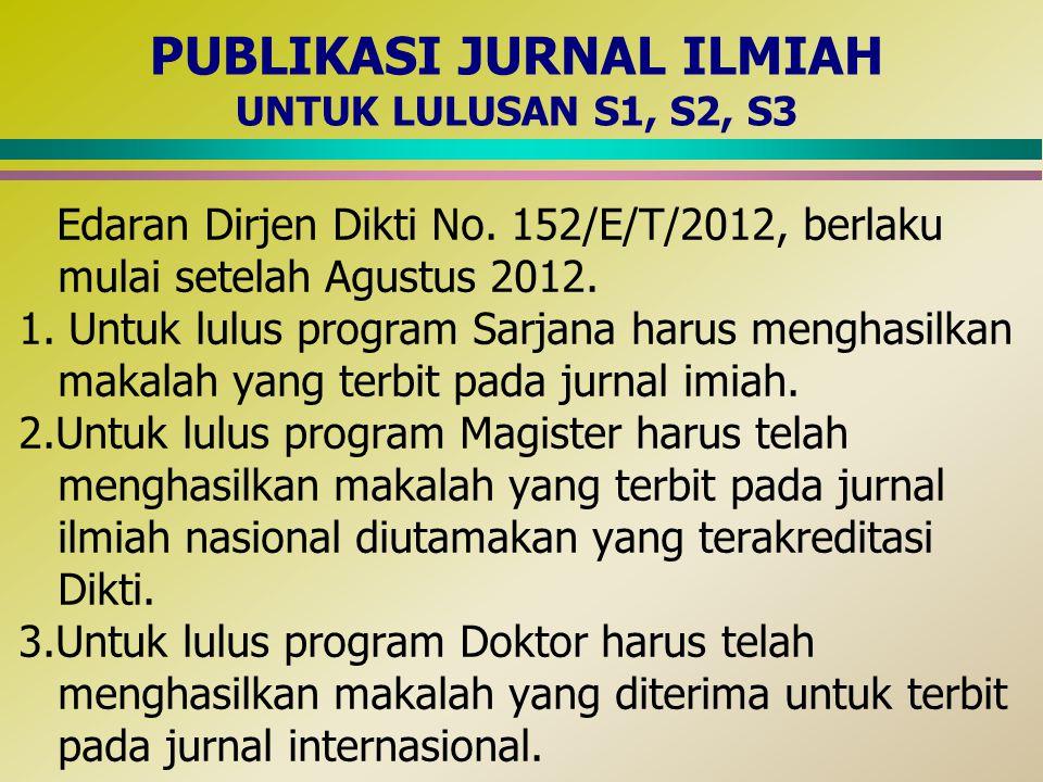 PUBLIKASI JURNAL ILMIAH UNTUK LULUSAN S1, S2, S3
