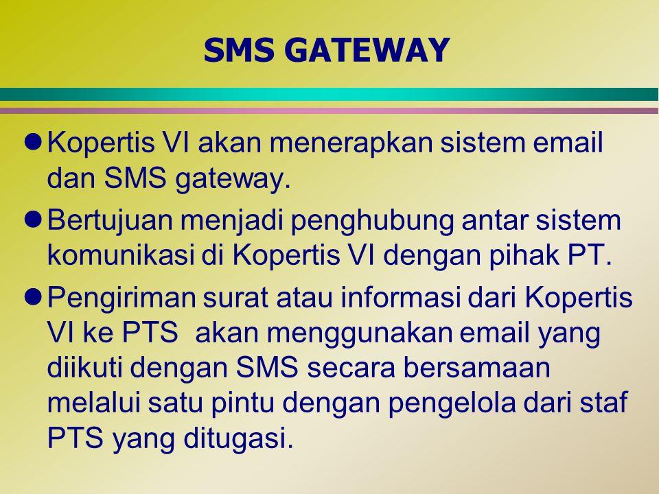 SMS GATEWAY Kopertis VI akan menerapkan sistem email dan SMS gateway.