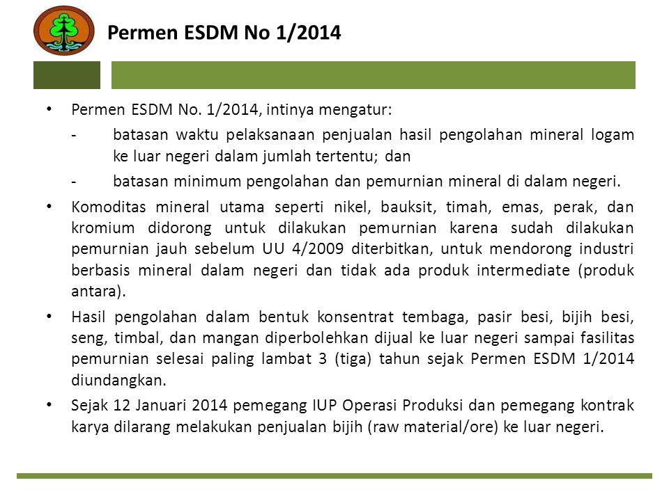Permen ESDM No 1/2014 Permen ESDM No. 1/2014, intinya mengatur: