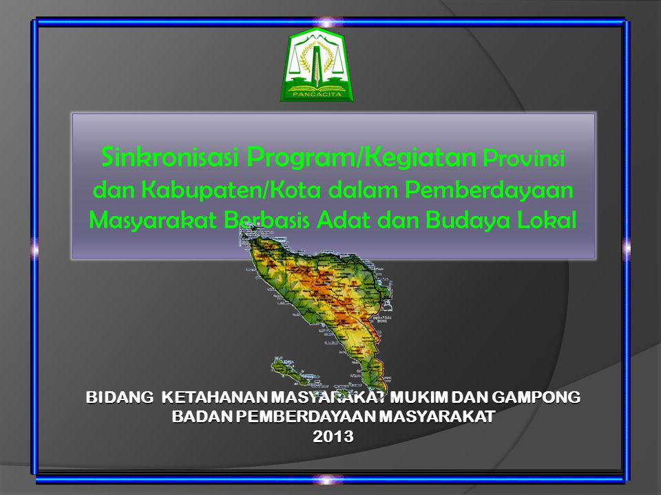 Sinkronisasi Program/Kegiatan Provinsi dan Kabupaten/Kota dalam Pemberdayaan Masyarakat Berbasis Adat dan Budaya Lokal