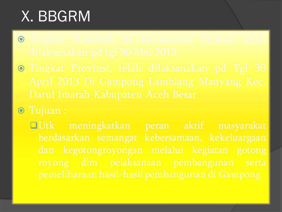 X. BBGRM Tingkat Nasional, di Kalimantan Selatan telah dilaksanakan pd tgl 30 Mei 2013.