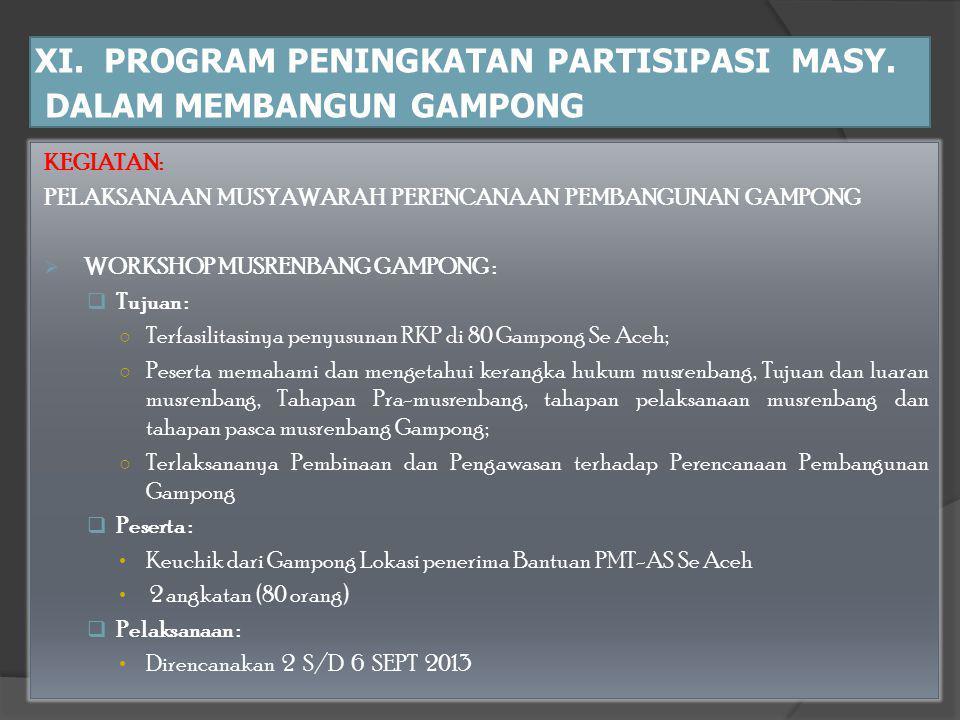 XI. PROGRAM PENINGKATAN PARTISIPASI MASY. DALAM MEMBANGUN GAMPONG