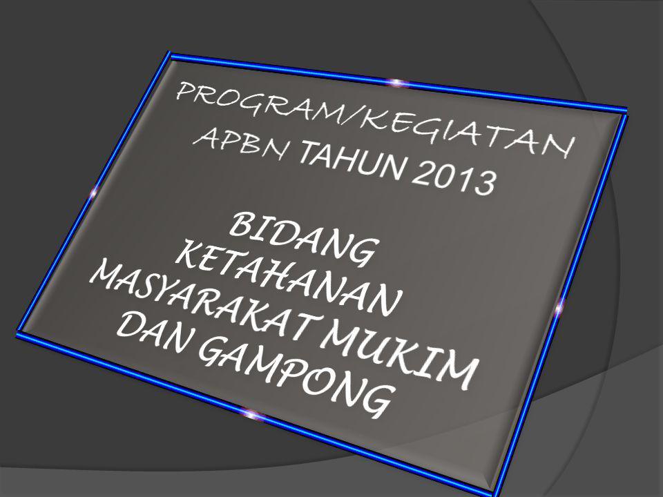 PROGRAM/KEGIATAN APBN TAHUN 2013 BIDANG KETAHANAN MASYARAKAT MUKIM DAN GAMPONG