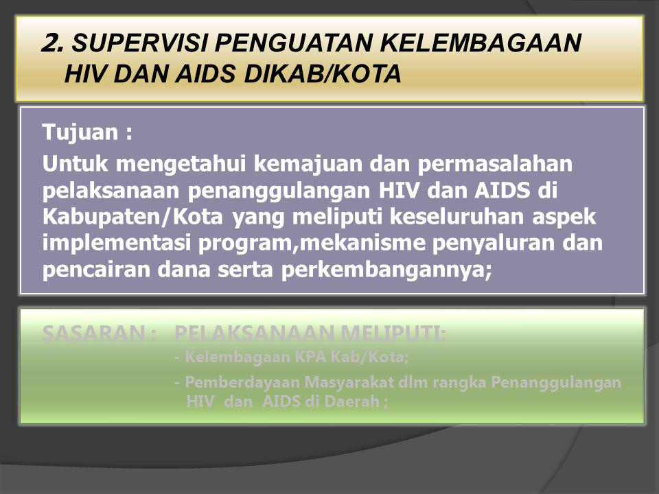 2. SUPERVISI PENGUATAN KELEMBAGAAN HIV DAN AIDS DIKAB/KOTA