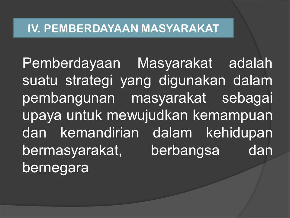 IV. PEMBERDAYAAN MASYARAKAT