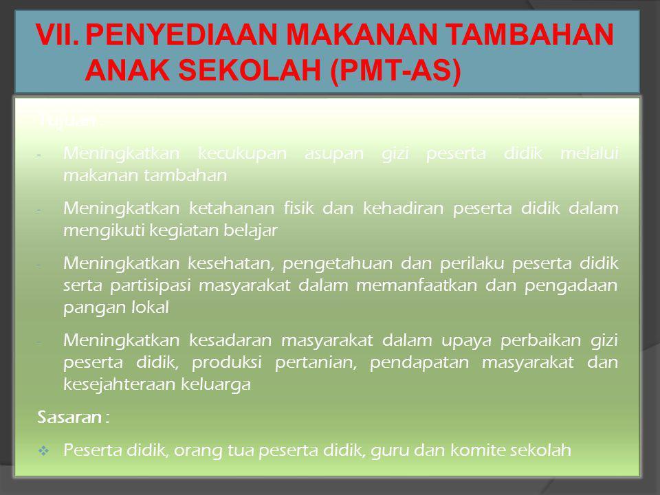 VII. PENYEDIAAN MAKANAN TAMBAHAN ANAK SEKOLAH (PMT-AS)