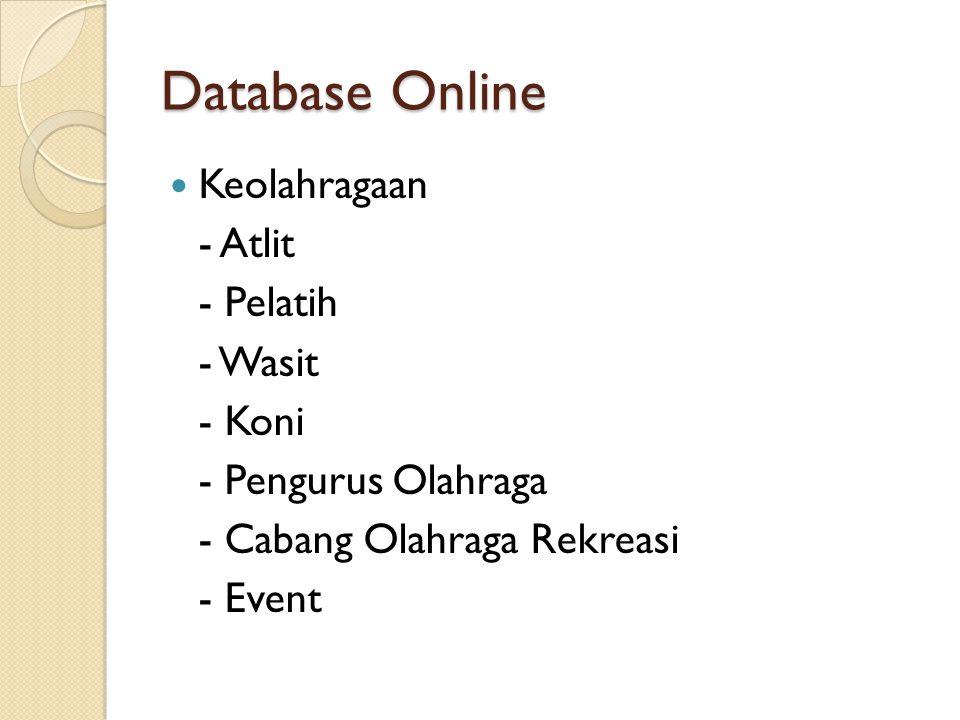 Database Online Keolahragaan - Atlit - Pelatih - Wasit - Koni