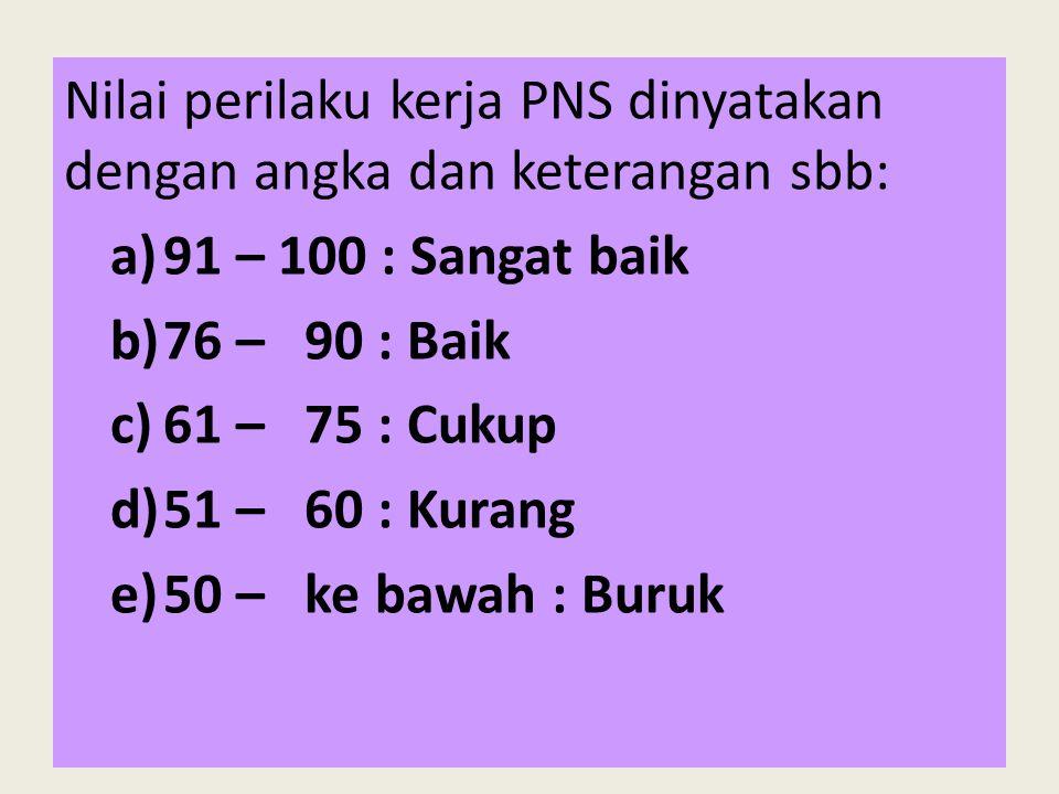 Nilai perilaku kerja PNS dinyatakan dengan angka dan keterangan sbb: