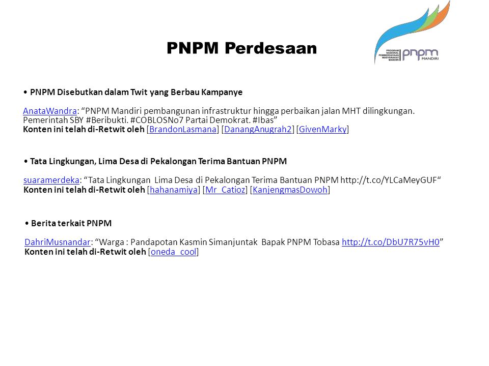 PNPM Perdesaan • PNPM Disebutkan dalam Twit yang Berbau Kampanye