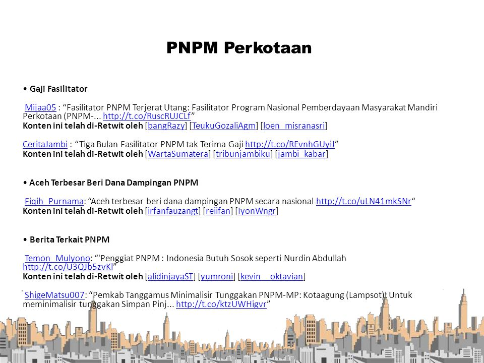PNPM Perkotaan . • Gaji Fasilitator