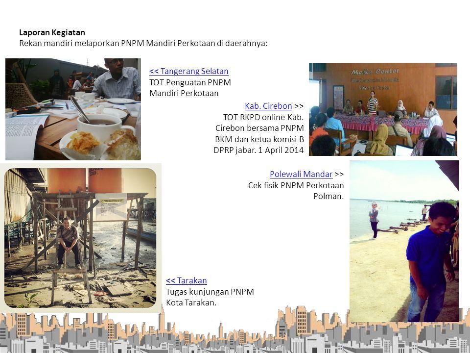 Rekan mandiri melaporkan PNPM Mandiri Perkotaan di daerahnya: