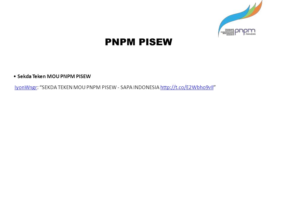 PNPM PISEW • Sekda Teken MOU PNPM PISEW