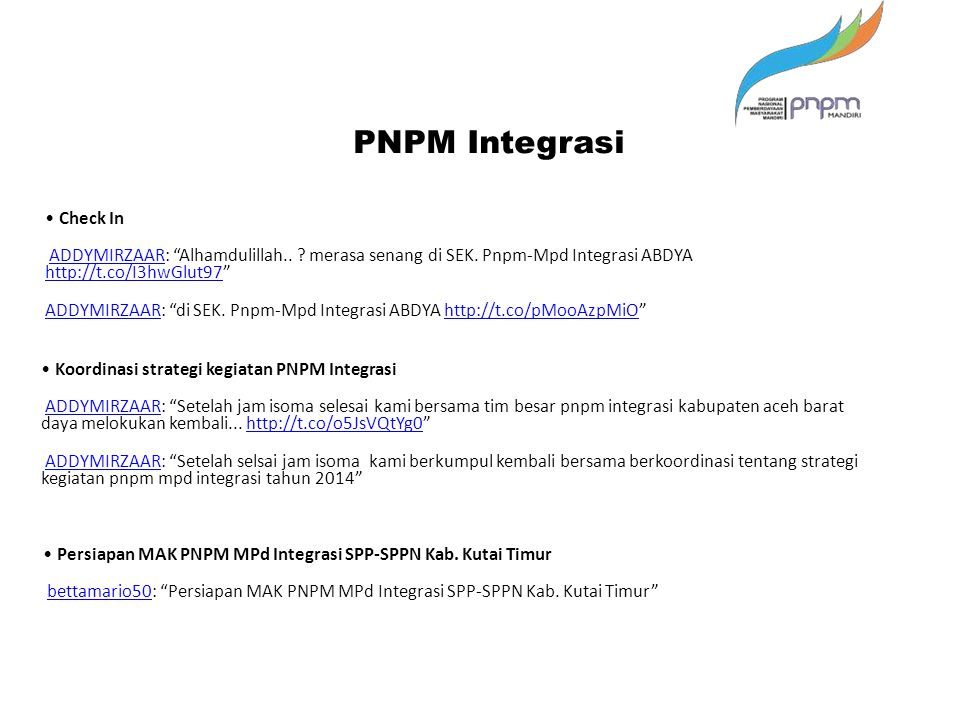 PNPM Integrasi • Check In