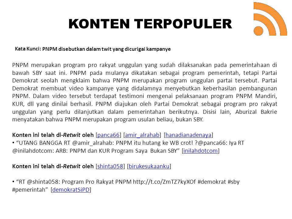 KONTEN TERPOPULER. Kata Kunci: PNPM disebutkan dalam twit yang dicurigai kampanye.