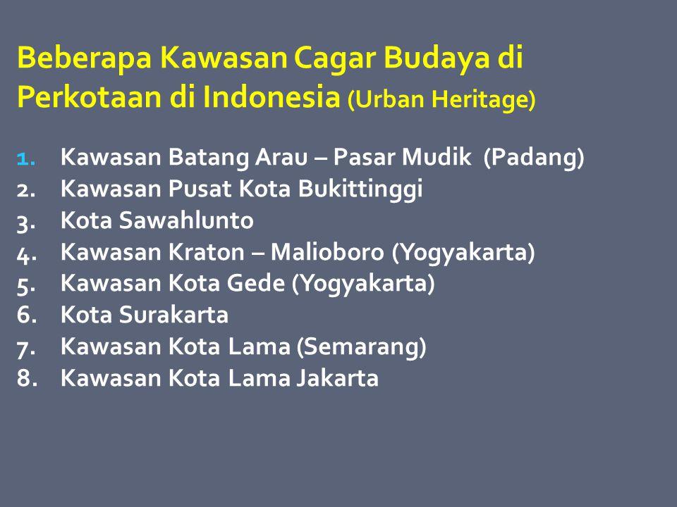 Beberapa Kawasan Cagar Budaya di Perkotaan di Indonesia (Urban Heritage)