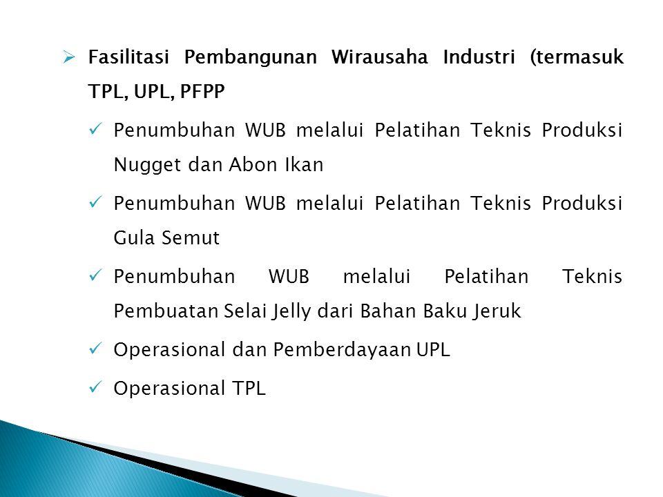 Fasilitasi Pembangunan Wirausaha Industri (termasuk TPL, UPL, PFPP