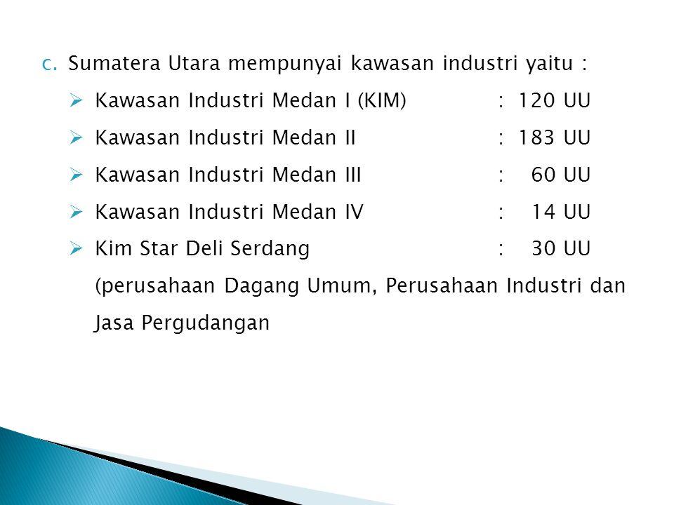Sumatera Utara mempunyai kawasan industri yaitu :