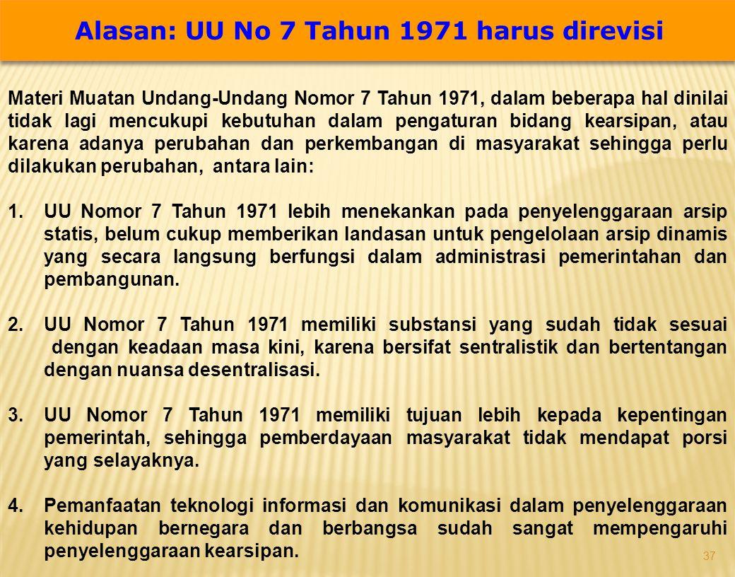 Alasan: UU No 7 Tahun 1971 harus direvisi
