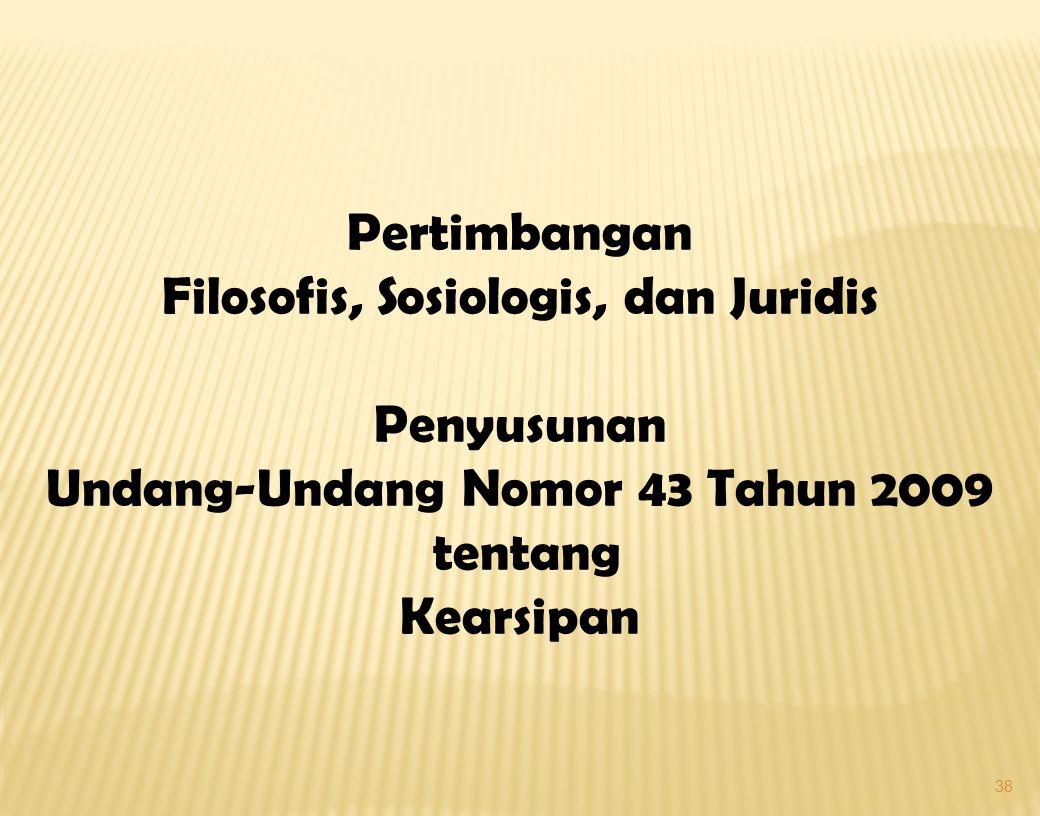 Filosofis, Sosiologis, dan Juridis Undang-Undang Nomor 43 Tahun 2009