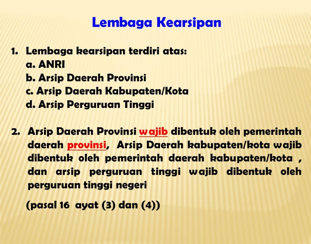 Lembaga Kearsipan Lembaga kearsipan terdiri atas: a. ANRI
