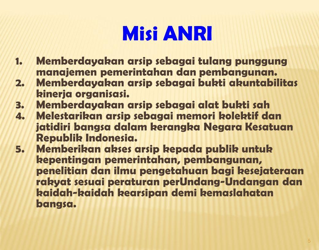 Misi ANRI 1. Memberdayakan arsip sebagai tulang punggung manajemen pemerintahan dan pembangunan.