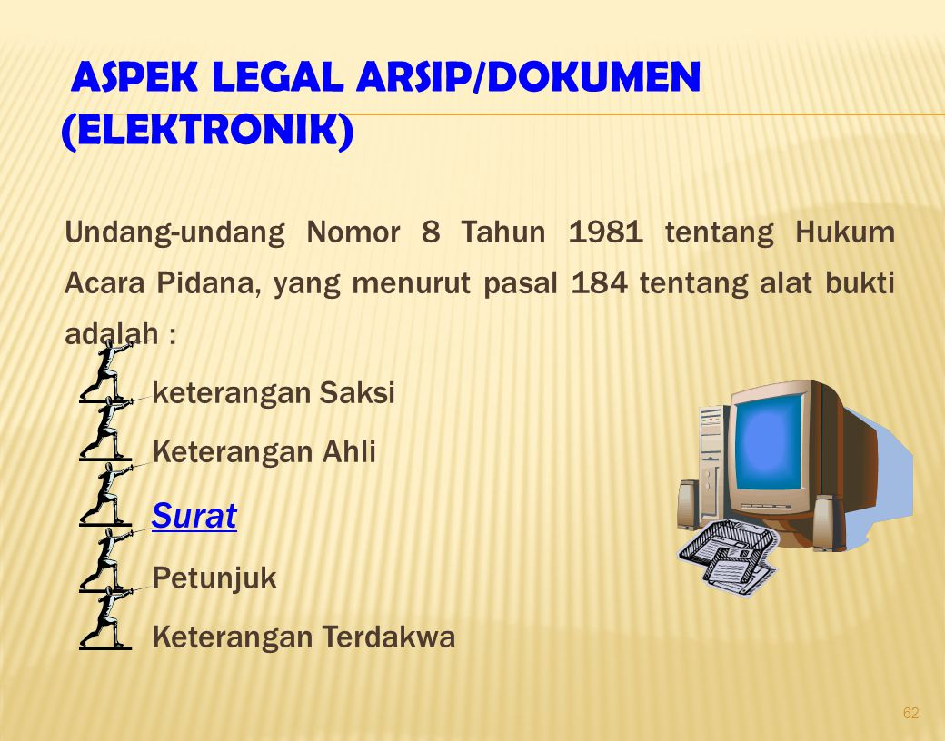 ASPEK LEGAL ARSIP/DOKUMEN (ELEKTRONIK)