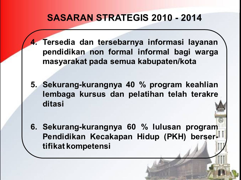 SASARAN STRATEGIS 2010 - 2014