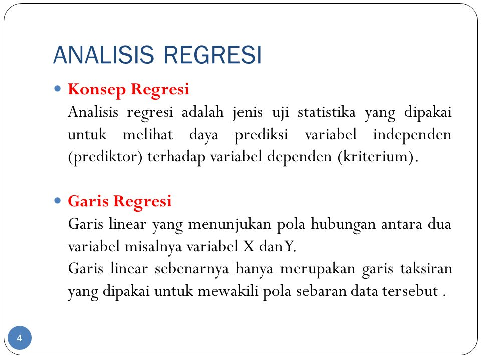 ANALISIS REGRESI Konsep Regresi