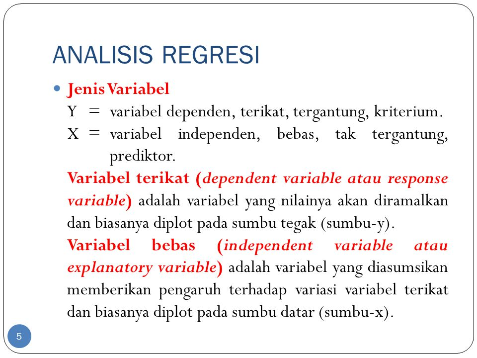 ANALISIS REGRESI Jenis Variabel