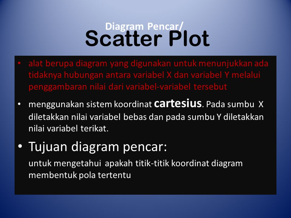 Scatter Plot Tujuan diagram pencar: Diagram Pencar/
