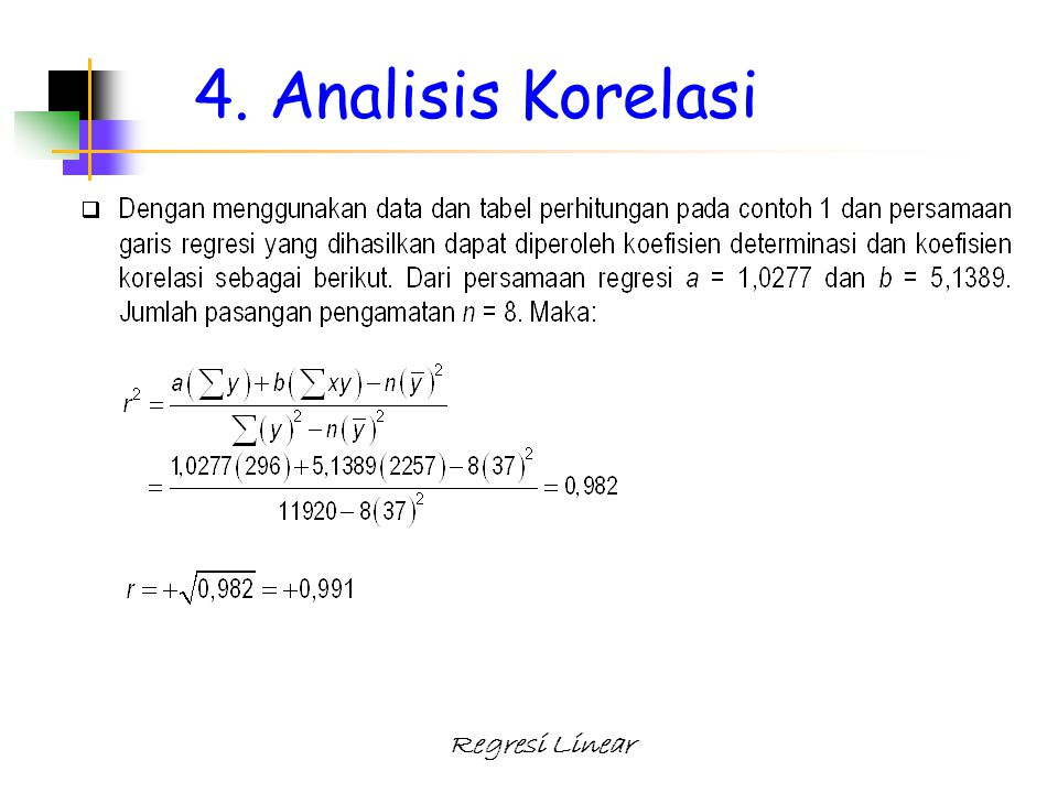 4. Analisis Korelasi Regresi Linear