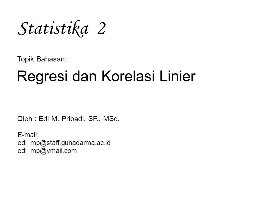 Statistika 2 Regresi dan Korelasi Linier Topik Bahasan: