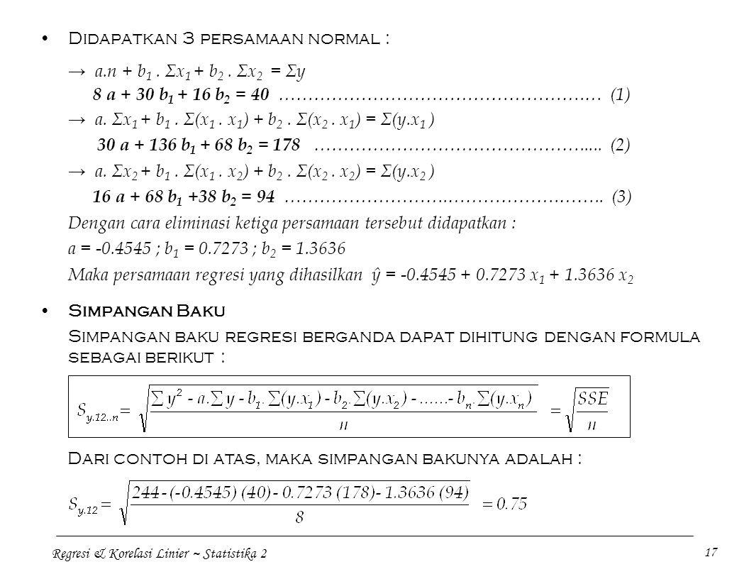 Didapatkan 3 persamaan normal :