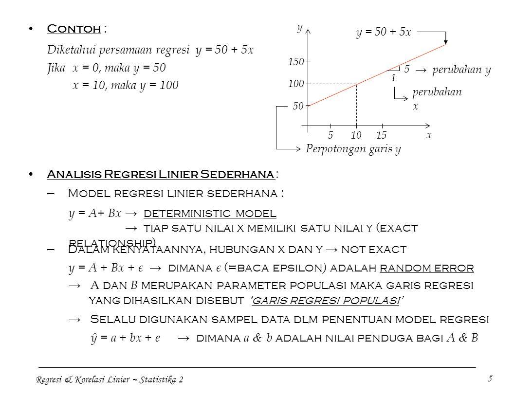 Diketahui persamaan regresi y = 50 + 5x Jika x = 0, maka y = 50