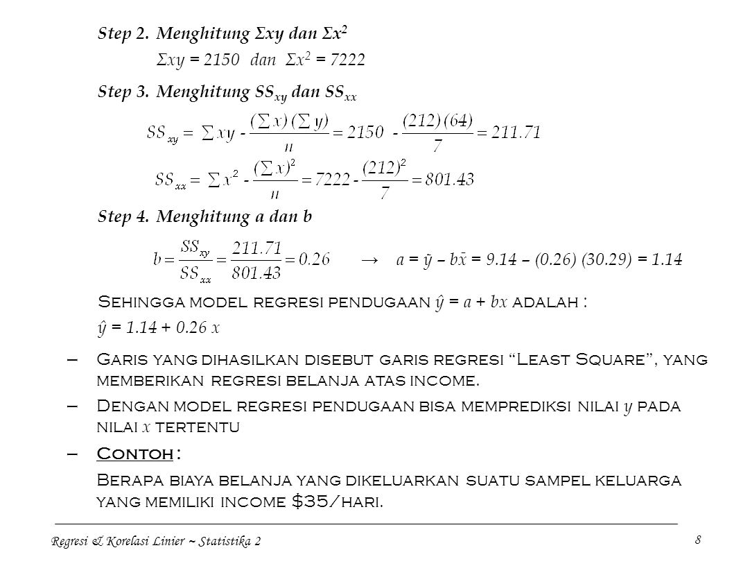 Step 2. Menghitung Σxy dan Σx2