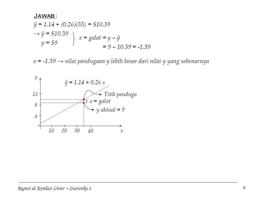 e = -1.39 → nilai pendugaan y lebih besar dari nilai y yang sebenarnya