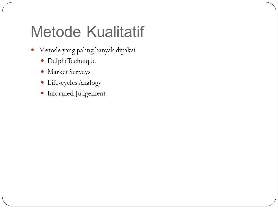 Metode Kualitatif Metode yang paling banyak dipakai Delphi Technique